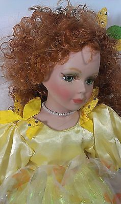 Cathay Collection Redhead Fairy Fantasy Girl Porcelain Doll Sitting Yellow Dress