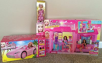 Barbie Doll & Glam Vacation House & Convertible Car Play Set NIP