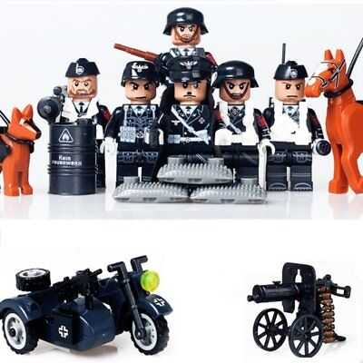 DUNKIRK WW2 SS soldiers black uniforms motobike weapons minifigures gift present