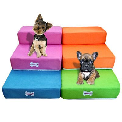 Pet Stairs 2 Step Breathable Dog Cat Puppy Sofa Bed Ramp Detachable Washable Hot
