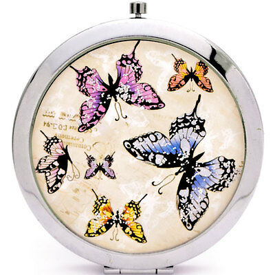 Cute Butterfly Compact Mirror Ladies Womans make up beauty handbag accessory