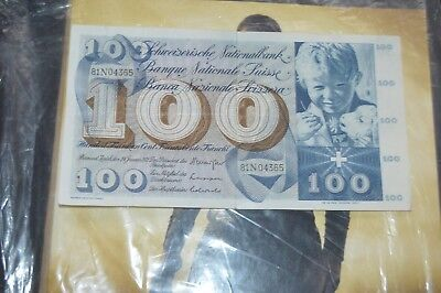 Swiss Franks 100 SWISS FRANK BANKNOTE,, CIRCULATED , GOOD CONDITION,,,,