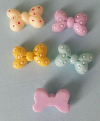 10 Flatback Resin Bow Cabochons Bow Embellishments 20mm  - Mixed Colours