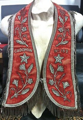 c1920'S SILVER BULLION FRINGED & EMBROIDERED RED VELVET ODD FELLOWS COLLAR VEST