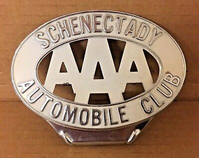 Vintage AAA 1930s Schenectady Automobile Automobile Club Metal License Topper