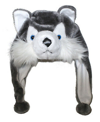 Husky Dog Plush Animal Head Furry Hat - Fun Cute Winter Costume Hoodie & Scarf