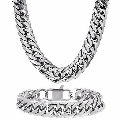 14mm Miami Cuban Thick Necklace Bracelet Stainless Steel 30 Inch Men Hip Hop New