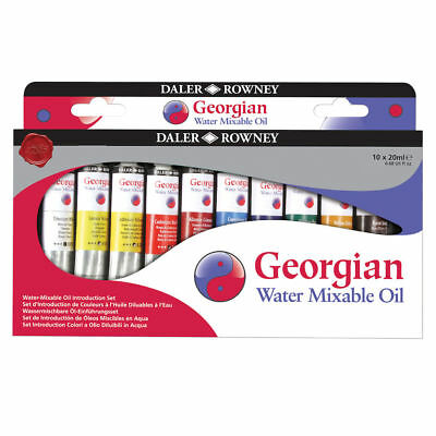New Daler Rowney Georgian Water Mixable Oil Colour Introduction Set 10 x 20ml