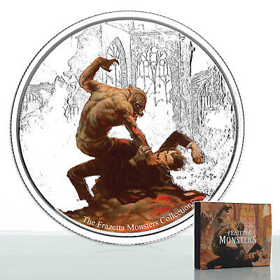 2017 Frazetta Monsters: Werewolf vs The Count 1oz Silver Proof Coin