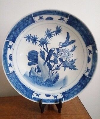 Antique Chinese Qing Dynasty Blue And White Charger/plate