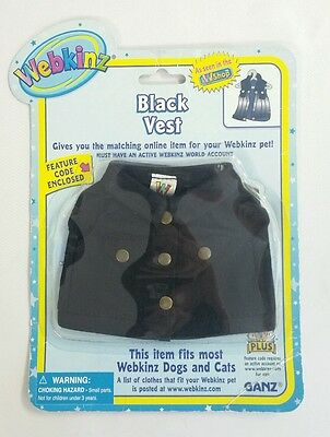 Webkinz Clothes Black Vest Cat Dog Fits Any Pet New Sealed Code
