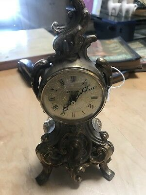 Vintage Gold Gilt Spelter Ornate Floral Scroll Footed Shelf Mantle Clock