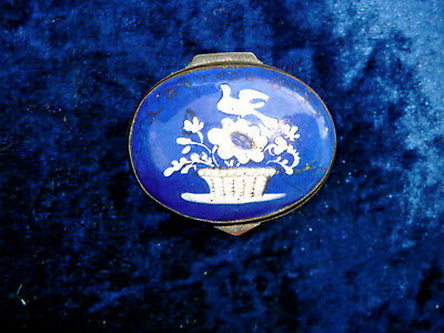 GEORGIAN C18th SMALL LIDDED  BILSTON ENAMEL PATCH  PILL SNUFF BOX