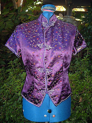 Chinese traditional chenogsam style top blouse purple print rayon XS 34