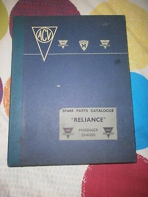 Aec/acv/aclo Reliance 4 Wheeled Single Deck Bus Or Coach Spare Parts Catalogue