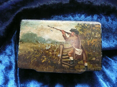 Antique  Papier Mache  Snuffbox  Table Snuff Box , Hunter  Shooting Scene