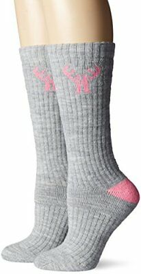 2 Pack Huntworth Women's Medium Weight Wool Blend Boot Sock, Grey, Medium