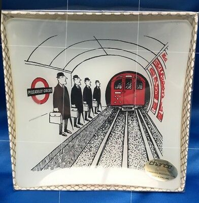 Chance Glass Sights Of London Underground Piccadilly Circus Tube Dish Plate 70s