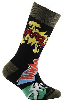 (Size 9½-12, Kapow! Print Black & Airforce Blue) - Horizon Boy's 2 Pack Sock