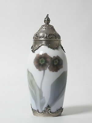 Porcelain vase in silver frame with silver lid. Royal Copenhagen, 1903.