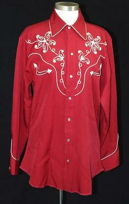 Vintage Men's H Bar C Long Tail Hand-Embroidered Maroon Western Shirt Rockabilly