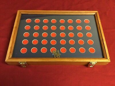 Cherry Wood Display Case  12 x 18 x 2 with 40 Slot Insert for Coins & Buttons