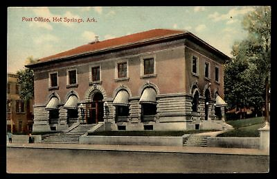Mayfairstamps POST OFFICE HOT SPRINGS AK CORNER SIDE VIEW HAND COLORED POSTCARD