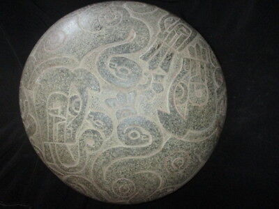 Chavin  granite stone plate with depiction of two feline for ritual Precolumbian