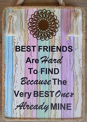 "Hand Made  Plaque "" BEST FRIENDS ARE HARD TO FIND"" Inspirational Friendship Gift"