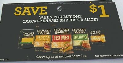 Lot Of Cracker Barrel Cheese Shreds Or Slices Product Coupons - Tear Pad