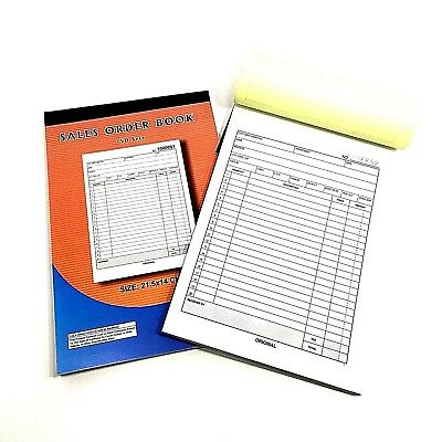 "100 SETS PAPER SALES ORDER RECEIPT INVOICE BOOK CARBON COPY DUPLICATE 8.5""x5.5"""