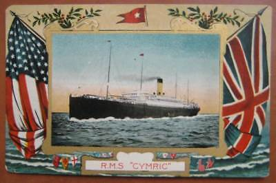 CYMRIC (White Star) GRAPHICALLY SUPERB card with US & British flags c1910