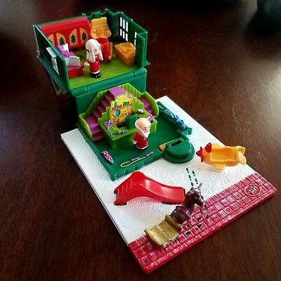 Vintage Bluebird Polly Pocket Holiday Toy Shop w/ 2 Dolls/Figures and Reindeer