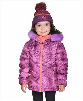 Girls Down Winter Jacket Purple Size 6 Attached Hood Knit Hat NWT