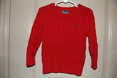 Ralph Lauren Polo Boy's Toddler Red Cable Knit Cotton Sweater  3T 3