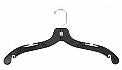 "NAHANCO 2900 Middle Heavy Weight Plastic Dress Hangers, 19"", Black Pack of 100"