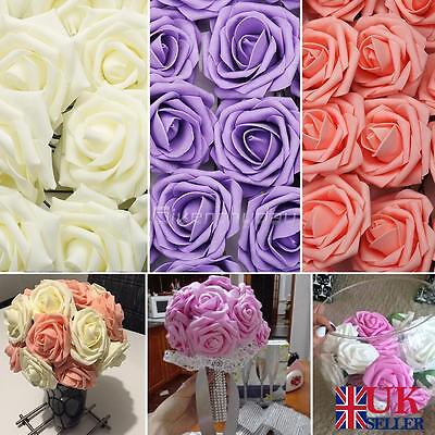 50/ 100 Foam Rose Artificial Flowers Heads Wedding Bride Hand Flower Party Décor