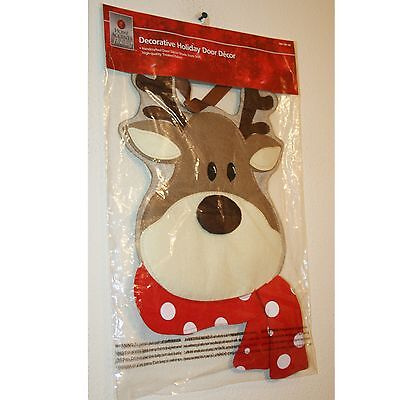 NEW Handcrafted Fabric Reindeer Christmas Holiday Door Decor by Home Accents