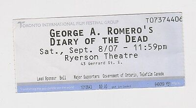 "2007 Ticket World Premiere ""Diary Of Dead"" George Romero 1940-2017 Film Zombie"