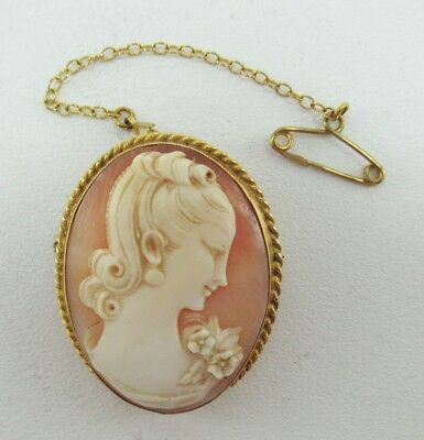 Lovely Antique 9K Gold Framed Carved Shell Cameo Pin Brooch Marked 9 375 E NoRes