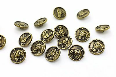 Horse Metal Shank Buttons Antique Bronze Animal Round Retro Style 15mm 100pcs