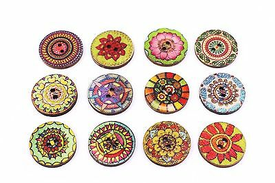 Bohemian Flower Floral Wooden Button Tribal Mixed Two Holes Round 20mm 100pcs
