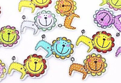 Lions Wood Sewing Button Polka Dot Mixed Colors Large Child Baby DIY 30mm 100pcs