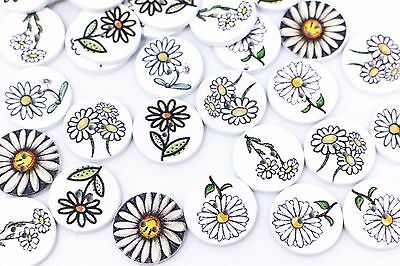 Floral Wooden Buttons White Mixed Flower Pattern Two Holes Sweater 20mm 100pcs