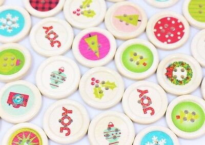 X'mas Mix Wooden Buttons Christmas Tree Holidays Decoration Sweater 25mm 100pcs