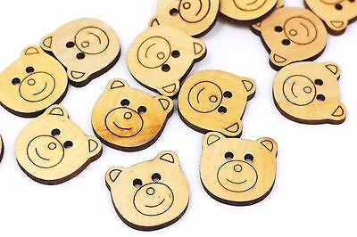 Teddy Bear Wooden Button Children Baby Two Holes Animal Shaped Wood 25mm 100pcs