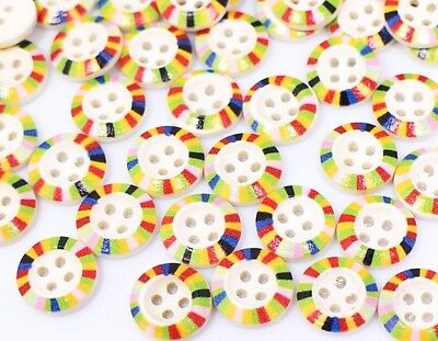 Rainbow Edge Wooden Buttons Four Holes Child Baby Sweater Small Wood 15mm 100pcs