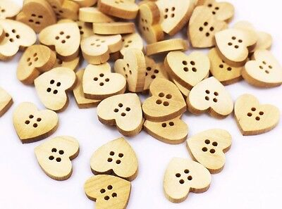 Heart-shaped Wooden Button Heart Four Hole Child Baby Sweater Small 15mm 100pcs