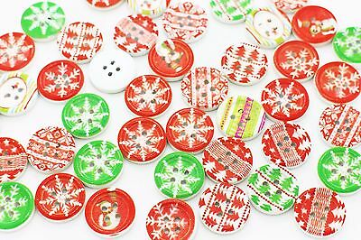 Christmas Snowflake Wooden Buttons Red Green Four Holes X'mas Wood 18mm 100pcs