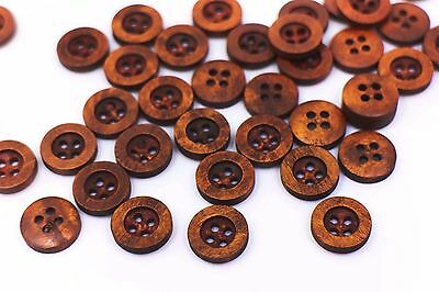 Red Brown Wood Sewing Button Small Blouse Shirt Four Hole Raise Edge 13mm 100pcs